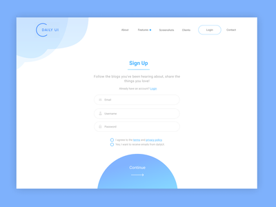 Sign up page ui design page signup 001 dailyu