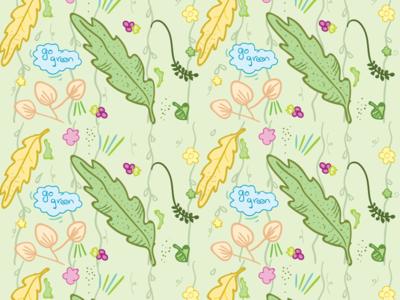 Greenish print wrap design doodle illustraion gift wrapper wrap
