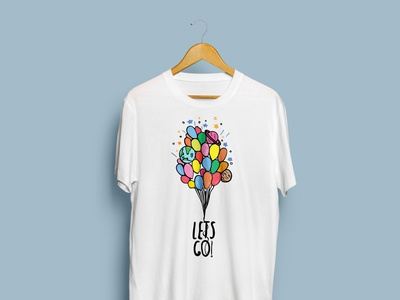 Let's go up with balloons T-shirt design t-shirt illustration t-shirt design graphic design design space balloons illustration