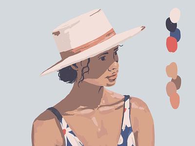 Girl w/ Hat pattern design texture drawing illustration