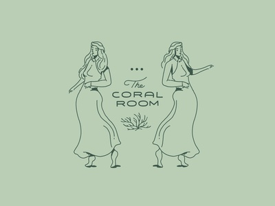 Coral Room type mark character design packaging plants logo branding drawing illustration