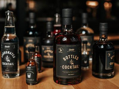 Standby Cocktails type logo bottles alcohol drinks branding design packaging drawing illustration