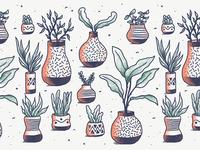 Pots Of Plants Pattern