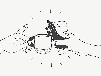 Cheers mug white black illustration cheers hands coffee
