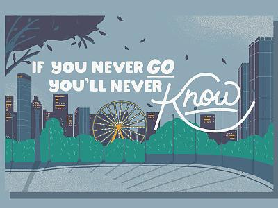 Illustration for Huffington Post lake city blue lettering type illustration