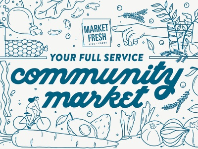 Market Fresh Mural lettering type bread drawing fish meats fruits character illustration mural