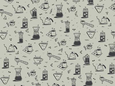 Coffee Pattern grinder filter espresso chemex mug pattern illustration icons coffee