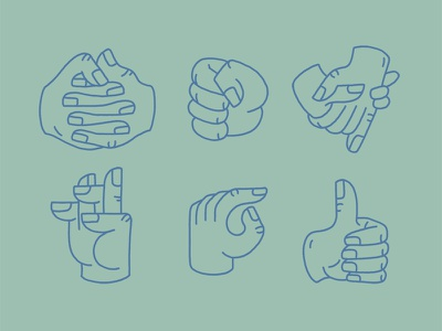 Getting Handsy fist fingers thumbs up holing hands icons hands