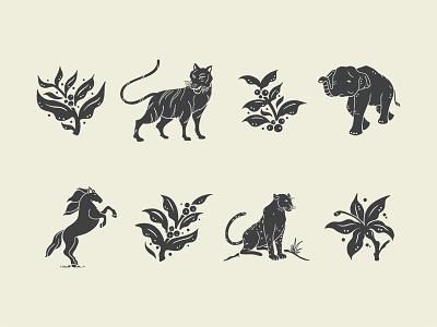 Illustrations cheetah horse elephant tiger icon line work coffee illustration mark icons