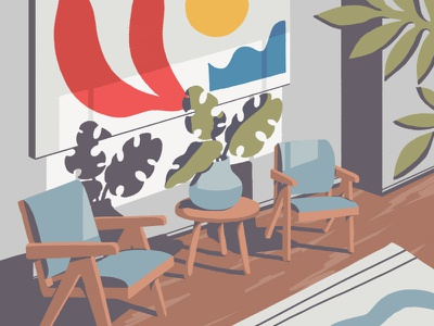 Interior abstract painting wood vase modern chair table furniture plants illustration interior