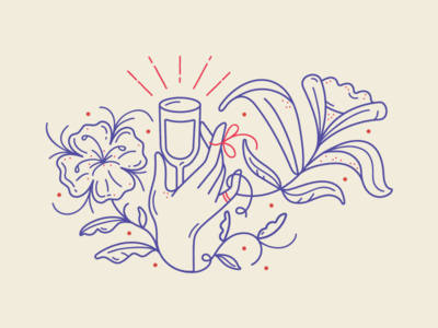 Holy Grail design pattern drawing logo mark drinks wine hand delicate illistration line work lines ring flowers grail hands