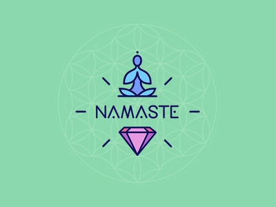 Namaste नमस्ते practices lifestyle logo logotype friends meditation yoga namaste