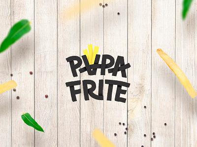 Papa Frite letering lu4-design logotype logo potato chips potato poster fries photoshop frite papa