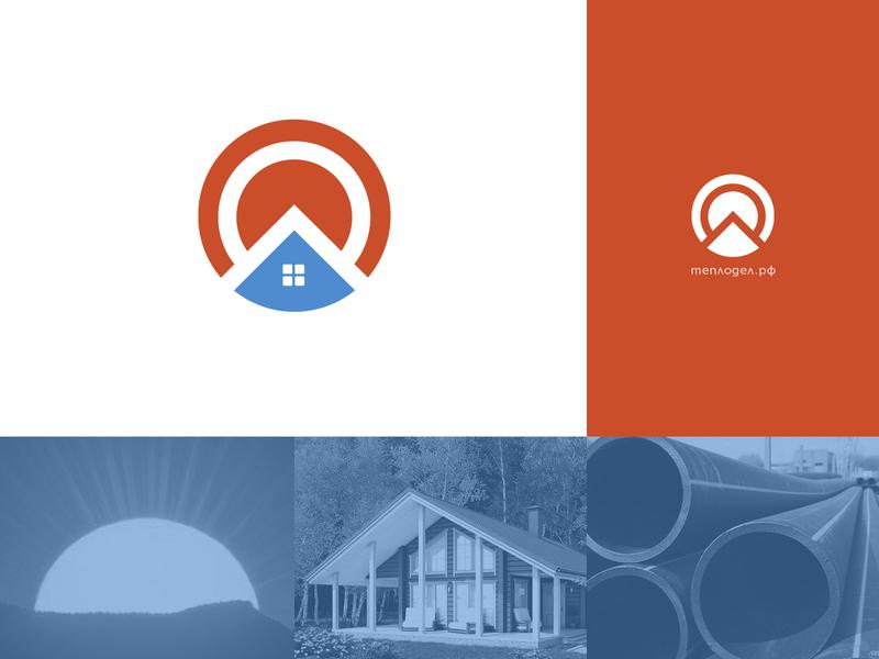 Teplodel country sewerage water heating heat window tubing simple home sun mark sign lu4 logotype logo