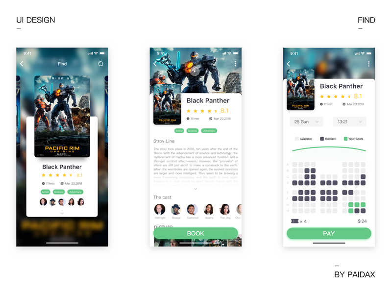 Film app iteration ux ui tickets poster movie mobile material list cinema app