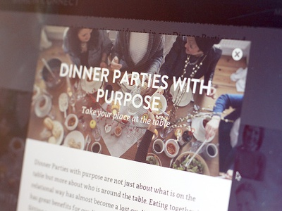 Dinner Parties with purpose website lightbox close modal uppercase italic image