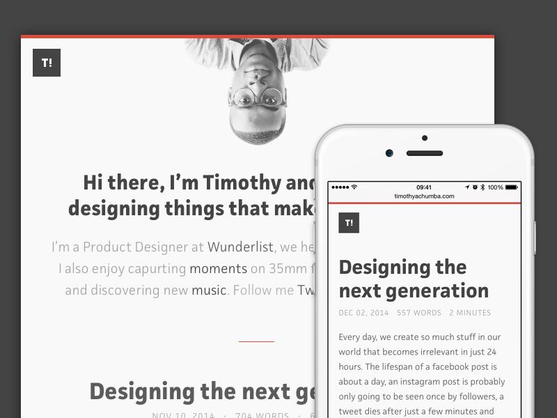Hi there, I'm Timothy blog website design responsive timothy wunderlist