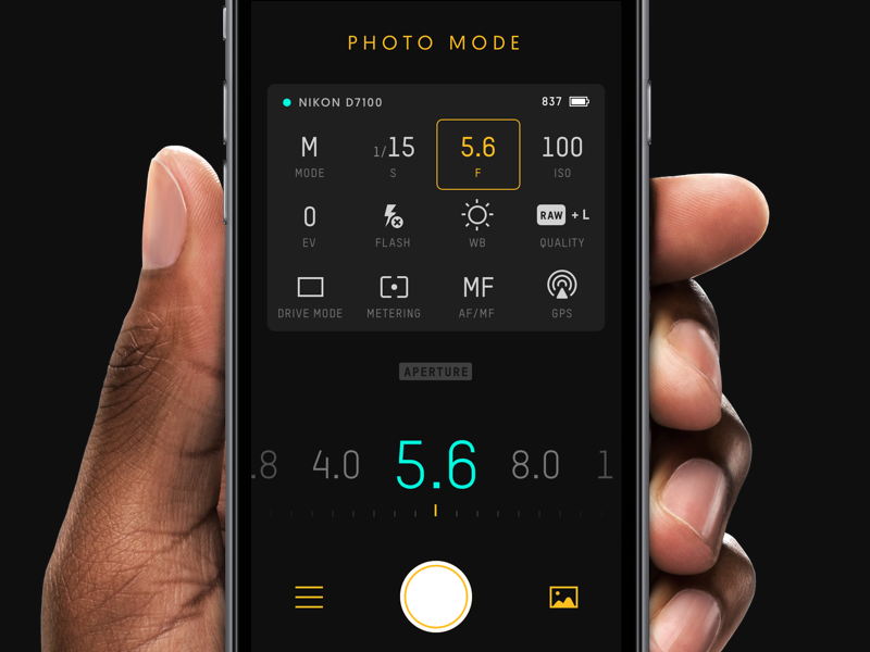 Unleashed — Aperture 5.8 technical app ios dark ui control remote camera pictograms
