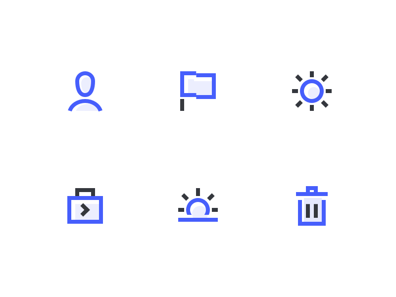 Icon Style Explorations two tone blue line icons pictograms icon