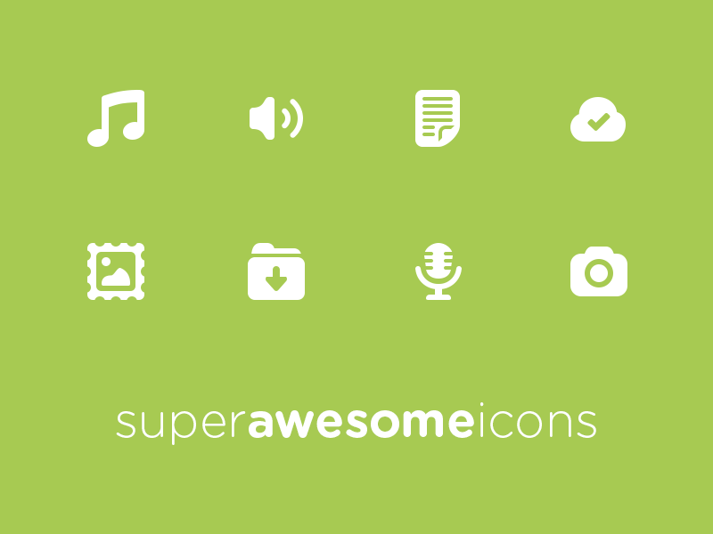 Super Awesome Icon V2 super awesome icons glyphs pictograms music note microphone volume cloud tick picture photo frame download folder camera