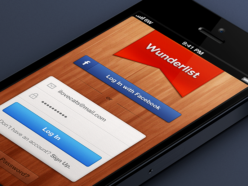 Wunderlist 2 - Login Screen wunderlist 2 wunderlist task manager login ribbon red facebook wood paper form iphone ios 6wunderkinder