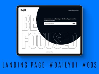 #DailyUI #003 — Landing Page