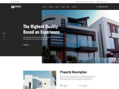 Antant - Real Estate Agency WordPress Theme single property sale single property rental realty realtor real estate property project house building brokers architecture apartment complex apartment agency