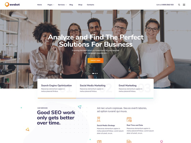 Ewebot Agency WordPress Theme - New Homepage social media marketing agency seo theme seo agency theme seo agency seo media agency marketing agency marketing digital marketing agency digital marketing digital agency consulting agency