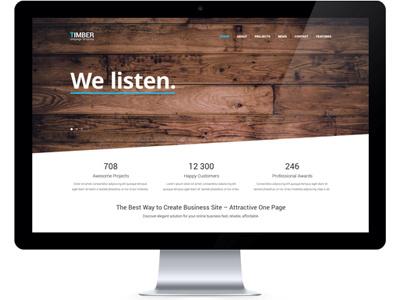 Timber One Page PSD (Freebie) free freebie psd design one page single page design