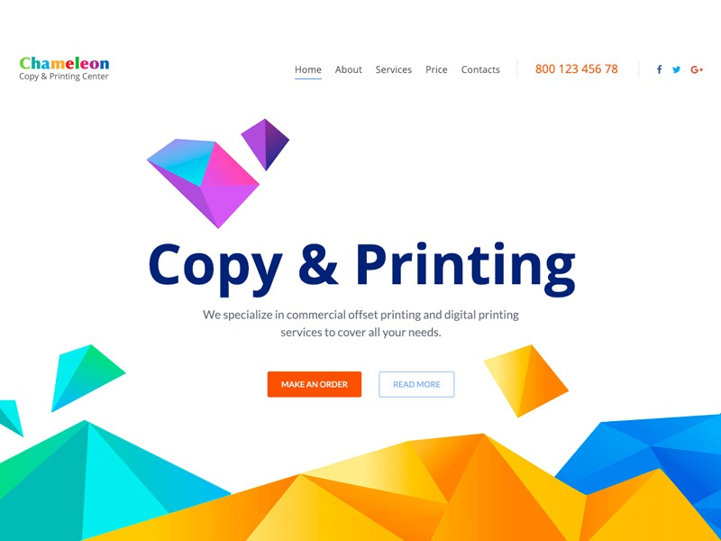 Chameleon Copy Printing Services One Page Template By Gt3themes Com