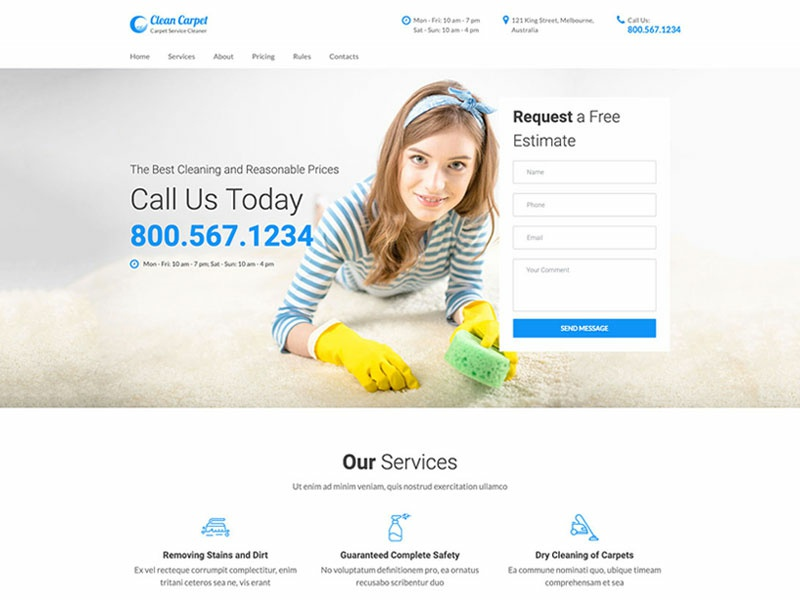 Carpet Cleaning Services One Page Website Template By