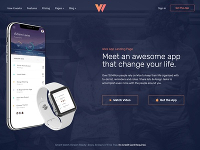 Wizeapp One Page App Landing Wordpress Theme