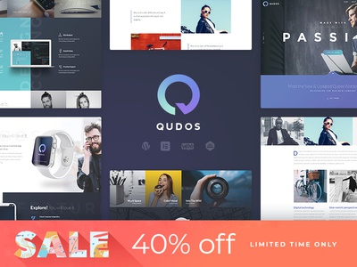 Qudos WordPress Theme Sale - 40% OFF design web design responsive wordpress theme portfolio wordpress blog creative wordpress theme qudos wp theme qudos sale qudos wordpress theme wordpress themes wordpress development wordpress blog theme wordpress