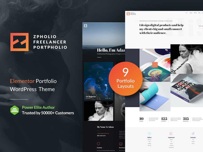 Zpholio - Creative Portfolio Elementor WordPress Theme showcase portfolio photography multi-purpose modern masonry gallery fresh freelance elementor designer design creative art agency