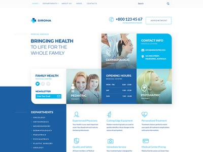 Sirona - Medical & Health WP Theme for Elementor therapy plastic surgery pediatric orthopedics medicine medical clinic medical care medical healthy health hospital gynecology family doctor dermatologic dental ambulance