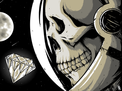 Dead Space astronaut dribbble stars space skull design illustration