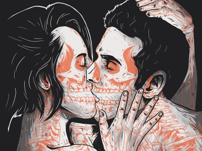 ♀ = ♂ equality kiss skull couple design dribbble illustration