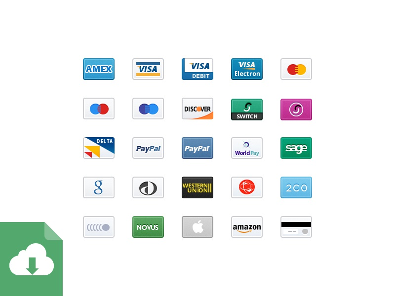 Credit Card Icons 2x - Free Download credit card psd free freebie download retina mobile 2x store estore ecommerce payment