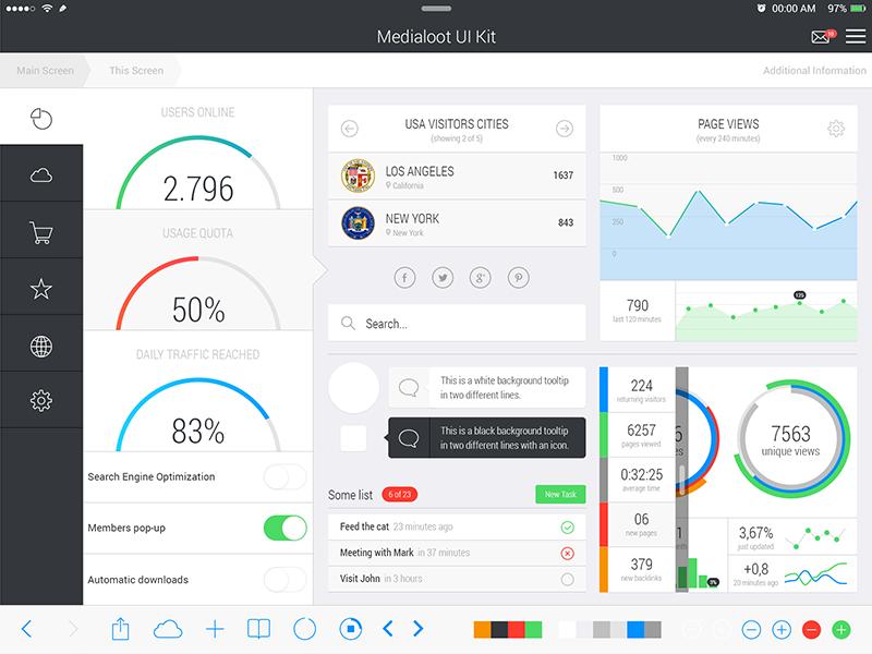iPad iOS 7 UI Kit ipad ui retina ios7 vector