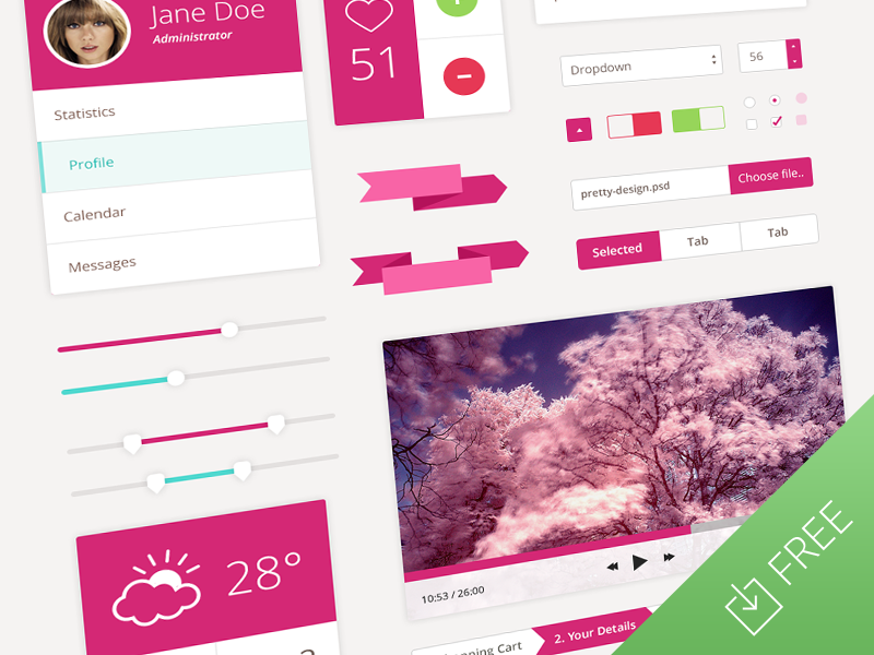Pretty flat ui design kit