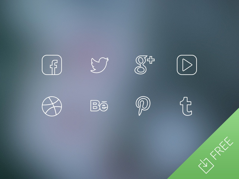 Ultra Thin Social Media Icons freebie social media icons ios7 facebook twitter thin free