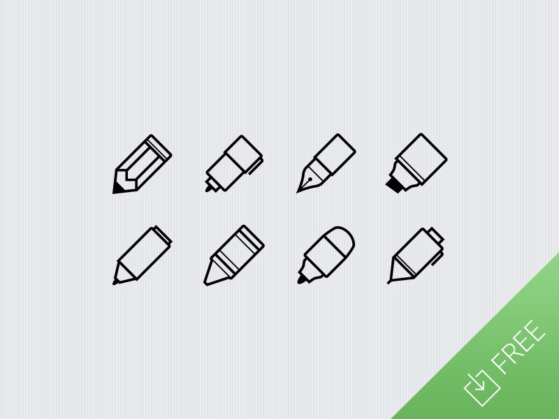 Writing Utensils - free icon set pen pencil eraser art artist doodle drawing marker free icon ui freebie