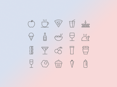 Food and Drink Icon Set icon icons ui fruit beer wine pizza bacon