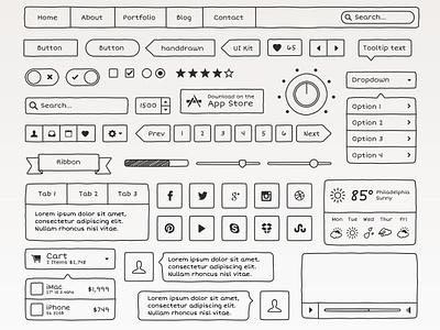 Hand Drawn UI Kit doodle drawing sketch ui ui kit button social tab ribbon toggle