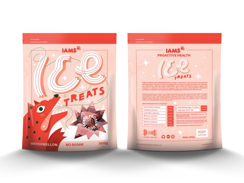 Dog food packaging design packaging design treats illustrations dog illustration illustraion ice cream watermelon branding adobe illustrator graphic design vector illustration typography package design packaging food dog treats dog food dog art