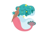 Letter C (Mermaid illustration)