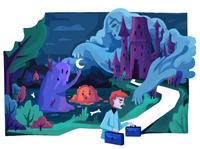 Haunted castle children book illustration