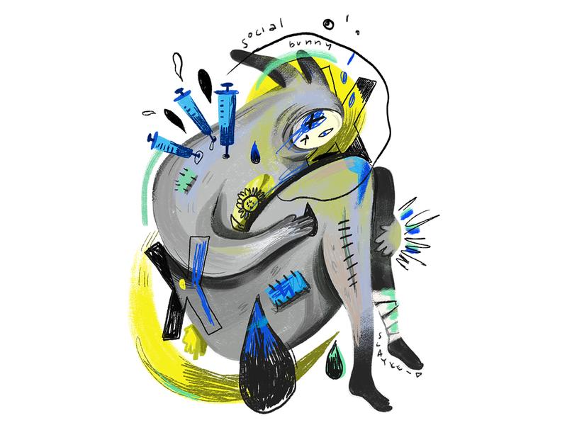 Social bunny illustration poster bunny animal sad monster kids book kids illustration childrens illustration childrens book digital illustration digital art illustraion character design illustration digital illustration design illustrations illustration art the sims illustration
