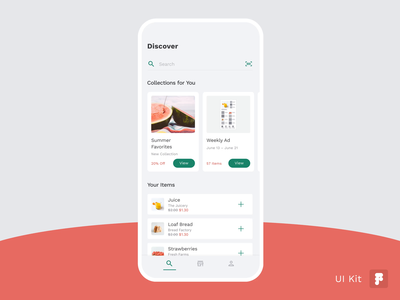 Grocery UI Kit — Weekly Ad app animation animation card animation cards uidesign ux design atomic robot light mode light design mobile app design mobile ui list ui list product list weekly ad grocery ad grocery app grocery product design