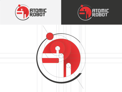 Atomic Robot Logo Concept app development atomic robot circles gradients grid gray red concepts logo robot atomic